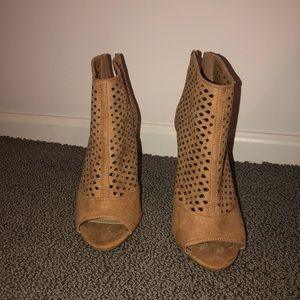 Tan Peep Toe Booties